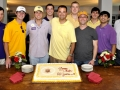 Ceremonial Cake Cutting with members of the SEC, Gamma Chapter undergraduate leadership and the Alumni leadership (L–R) …Brother Daniel Bratton, AA ; Brother Coulter McMahen, Grand Master of Ceremonies; Brother Kramer Sherman, Grand Master ; Brother Matthew Copeskey, Grand Treasurer; Brother S. Christian Nascimento, Worthy Grand Master; Brother Cason Ramos, Grand Procurator; Brother Hugh Robert, Worthy Grand Procurator; Brother Ben Kilpatrick, Grand Scribe; Brother Mike Busada, District Grand Master; and Brother Greg Hunt, Worthy Grand Scribe.